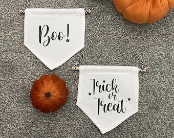 Mini Halloween Banner, Boo Hanging Banner, Trick or Treat Hanging Banner, Halloween Decoration