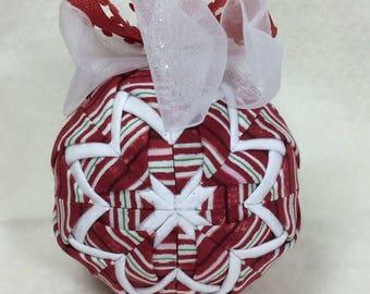 Red, Candy Stripe, Handmade, Fabric, Ornament, Christmas