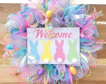 Easter Wreath Handmade for your Front Door with Bunnies and Eggs