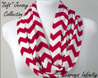 Lipstick Red Chevron Infinity Scarf - Long Modern Zig Zag Circle Scarves by Scarves Infinity
