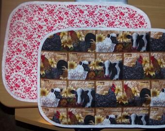 The Farm - Dish Drying Quilt, Dish Drying Mat, Pet Dish Place-mat, Camping dish mat, Gift for Her, Farmhouse Classic