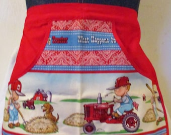 My Tractor - Red - Clothespin Apron, Gathering Apron, Farmhouse Classic, half aprons, waist aprons