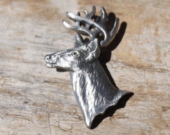 SET OF 2 PEWTER CLOTHING BUTTON SOUTHWEST DEER