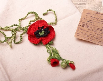 Poppy  Necklace - Red and Green Poppies Pendant - Romantic Handmade Flower Necklace .