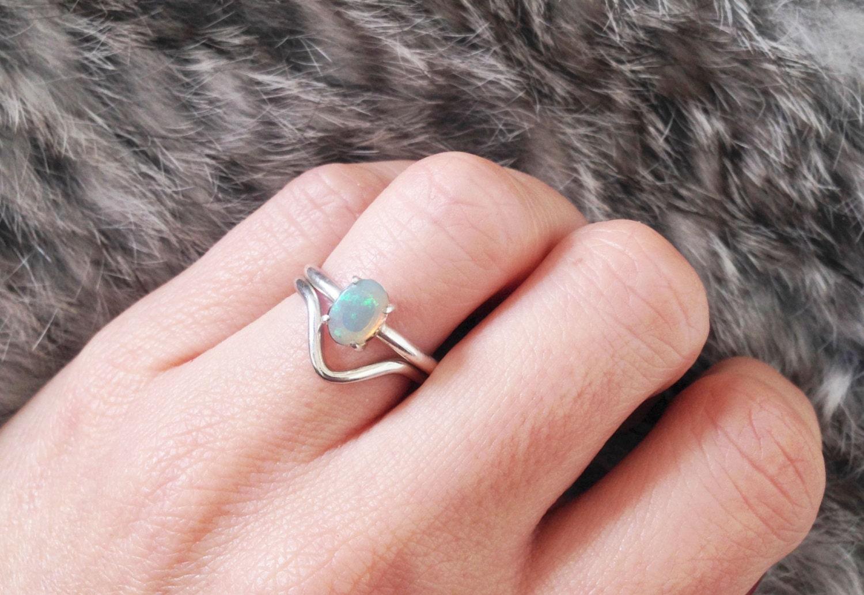 14 Ct White Gold Opal Wedding Ring Set.Opal Engagement ring | Etsy