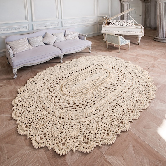 gro e h keln teppich ovalen teppich 100 75 in etsy. Black Bedroom Furniture Sets. Home Design Ideas