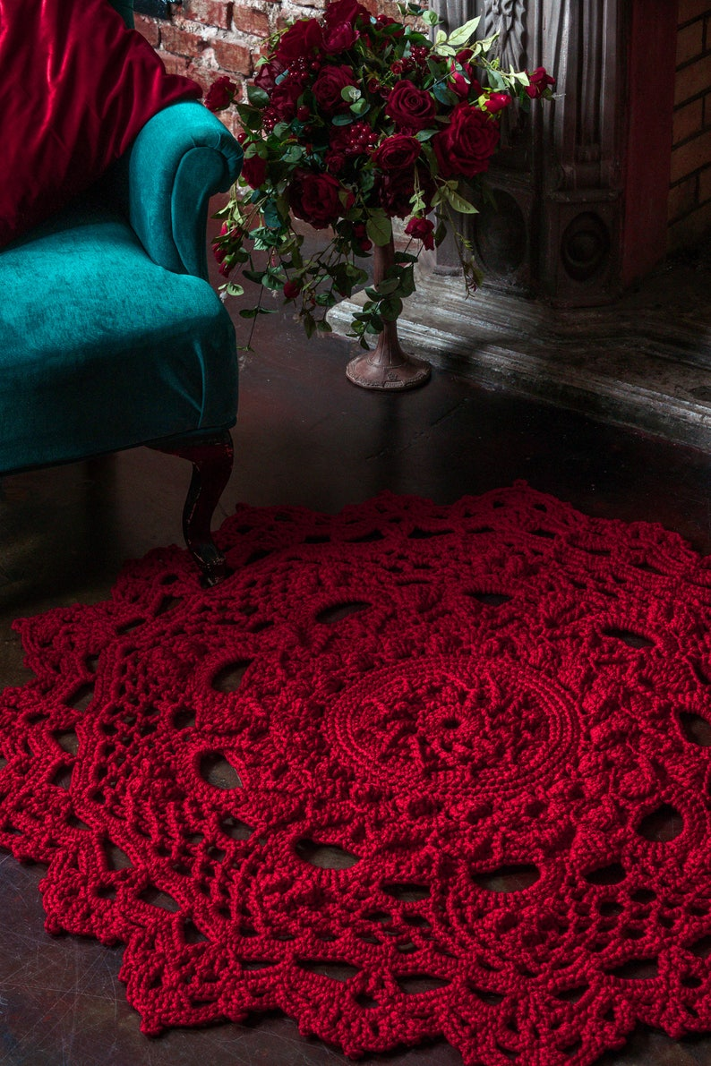 Doily Rug Round Area Rug 53 In Crochet Rug Yarn Lace Mat Etsy