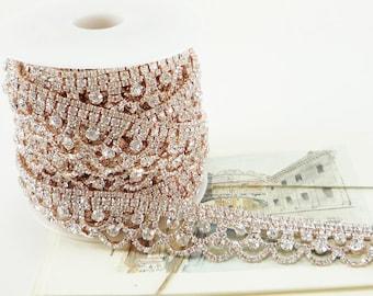 Rose Gold Rhinestone Scallop Trim, Clear Crystal Trim, Wedding Rhinestone Trim, Rhinestone Chain, Rhinestone Applique, 25mm ( 1 Yard Qty)