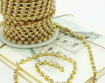 Gold Rhinestone Chain, Clear Crystal, (4mm / 10 Yard / 1 Roll Qty), Gold trim
