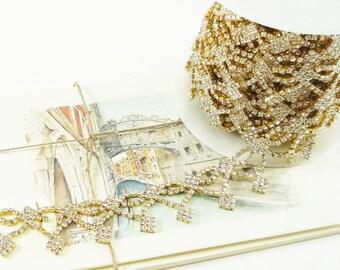Diamond Gold Rhinestone Trim, Rhinestone Chain, Wedding Rhinestone Applique, Gold Clear Crystal Trim, 25mm ( 1 Yard Qty)