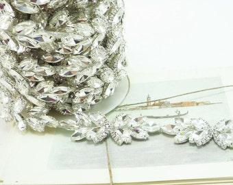 Silver Rhinestone Flower Bud, Rhinestone Chain, Clear Crystal Trim, Rhinestone Applique, 30mm (5 Yard Roll)