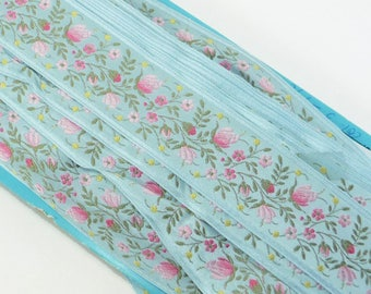 """1.5"""" Vintage BLUE FRENCH JACQUARD Woven Floral Ribbon Trim Pink Blue Yellow Green Wedding Antique Supply 1 Yard"""