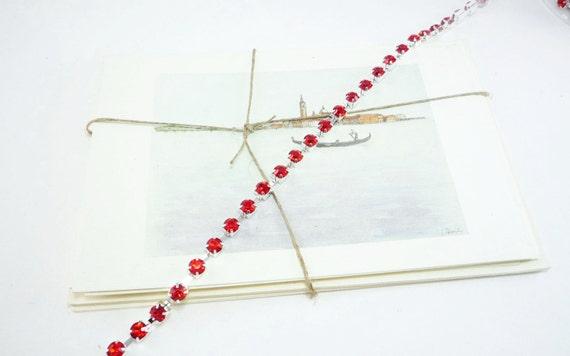 Argent chaîne de Rhinestone, Siam rouge Crystal Trim, (Qté (Qté (Qté 6mm/1 Yard) ab3d00