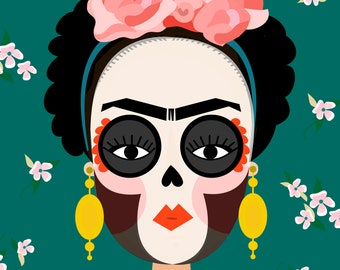 Frida Kahlo Day Of The Dead Print. Frida Print. DAy Of The Dead Print. A4 Frida Print.