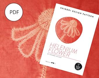 Shibori Helenium Flower, PDF Sewing Pattern, Digital Download, Shibori PDF Pattern, Shibori Flower, Shibori Stitch Resist Pattern
