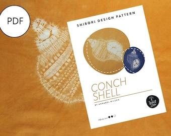 Shibori Conch Shell, PDF Sewing Pattern, Digital Download, Shibori PDF Pattern, Shibori Shell, Shibori Stitch Resist Pattern