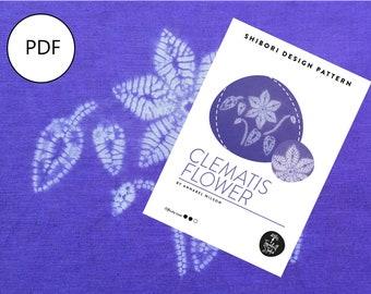 PDF Sewing Pattern, Shibori Clematis Flower, Digital Download, Shibori PDF Pattern, Shibori Flower, Shibori Stitch Resist Pattern