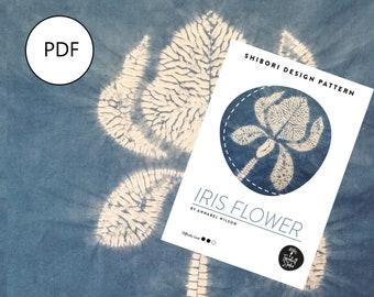 Shibori Iris Flower, PDF Sewing Pattern, Digital Download, Shibori PDF Pattern, Shibori Flower, Shibori Stitch Resist Pattern