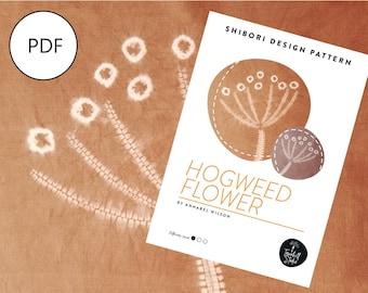 Shibori Hogweed Flower, PDF Sewing Pattern, Digital Download, Shibori PDF Pattern, Shibori Flower, Shibori Stitch Resist Pattern