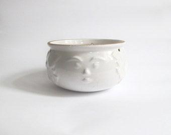 White Hanging Planter Pot. Ceramic Figurine Planter