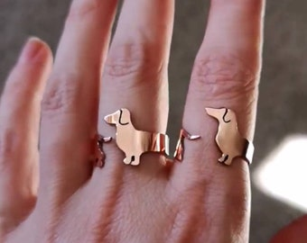 Dachshund Ring, Copper dog ring, Dachshund jewellery, Dachshund lover, pet owner gift, gift for her, copper sausage dog, personalized ring