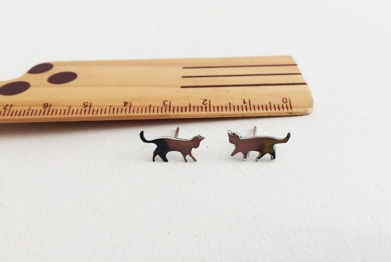 Cat Earrings cat jewelry cat stud earrings cat jewelry cat image 0