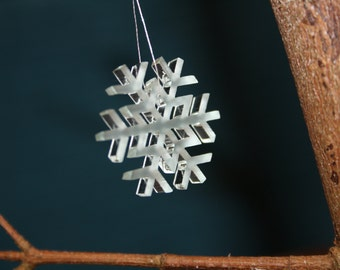 Snowflake Ornament, Glass effect snowflake decoration, snow crystal, snowfall decor, delicate winter decoration, snow flake, tree snow