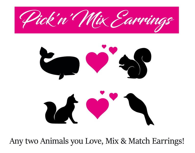 Mix Match Animal Earrings Pick a Mix Animal Earrings Quirky image 0