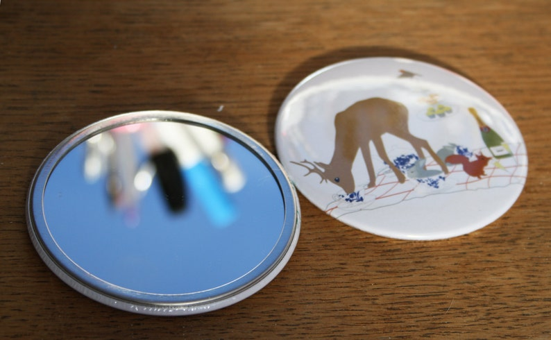 Cute Pocket Mirror compact mirror Woodland Mirror Pocket image 0