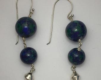 Double Earth  Azurite/ Malachite Sterling Silver Earrings