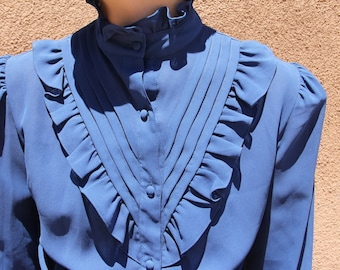 70s 80S secretary victorian ruffle high neck sheer button down blue blouse  size S/M