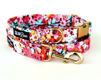 Fancy Pink Floral Gold Chrome Dog Collar Small Medium Large and Matching  Leash 3edce69f5