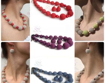 LINEN Jewelry SET, Rustic Crochet bead /ball Necklace & Earrings. Organic Chunky Eco Jewelry. Trendy Jewelry Set, Etnic Elegant jewelry 2018