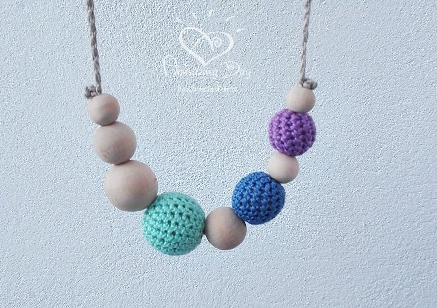 Mint Green Blue Purple Necklace Minimalist Thin Necklace Crochet Necklace Gift for New Mom Girls Jewelry Wood Linen Cotton Necklace