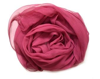 Silk Scarf - Chiffon Scarf - Hand Dyed - 3 sizes - BORDEAUX
