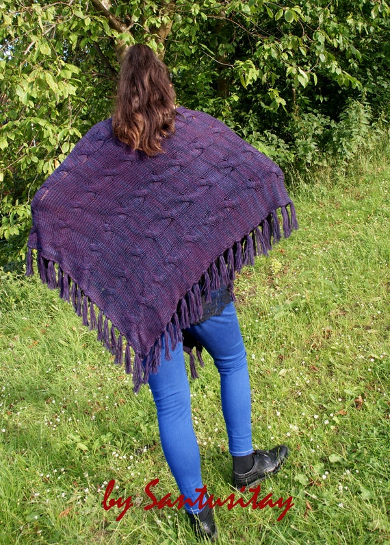 Exclusive Long Soft Warm Hand Knitted Poncho shawl neck warmer Hand Made Baby Alpaca Wool sky purple LAVENDER fringes romantic gift