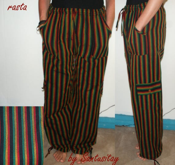 SIZE M Real Cotton Trousers Ethnic Boho Hippi Incredible Comfortable burgundy brown blue orange funky travel YOGA pants C8HhdW2tyP
