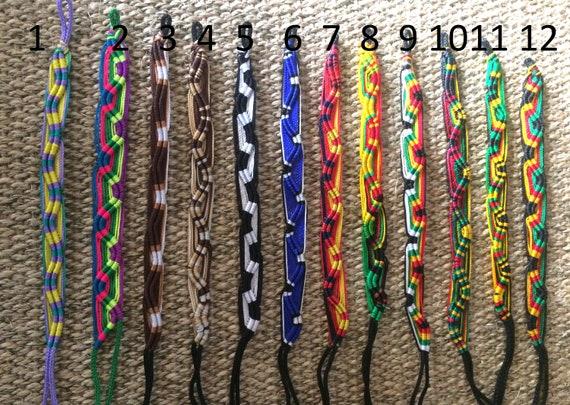 Macrame bracelet  friendship acrilic cord twist hand bracelet colourful hippi boho rasta brown beige blue woven