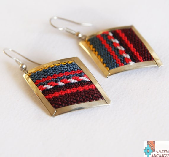 Unique Elegant alpaca metal set of jewellery earrings bracelet with textile traditional Peruvian fabric hand made crafted silver turquoise
