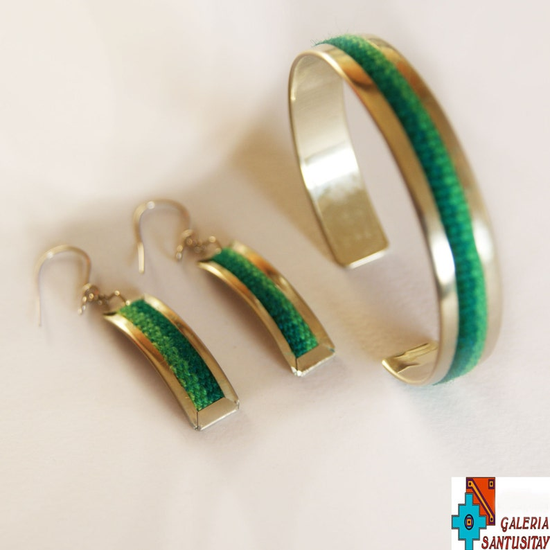 Unique Elegant alpaca metal set of jewellery earrings bracelet with textile traditional fabric hand made crafted silver shadow of green