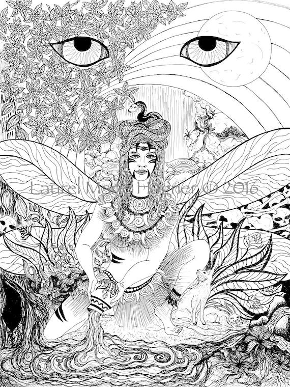 IxChel la diosa maya del arco iris blanco y negro fina lámina | Etsy