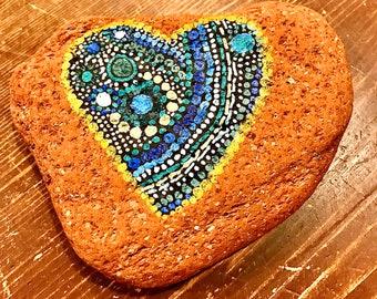 Heart Mandala Red Brick Stone