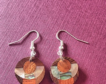 Abalone Shell and Wood Geometric Earrings on Sterling Silver Hooks