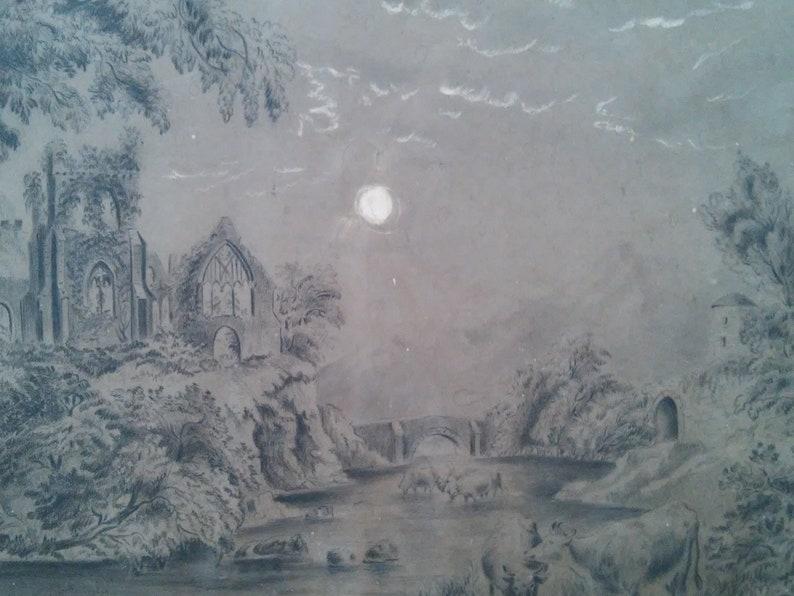 River under a Moonlit Sky \u2013 Victorian Era c 1900 Ruins Hudson River Charcoal Drawing with Cows Church
