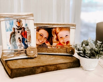 Rustic Picture Frame - Wood block picture frame -4x6- Anniversary Gift - wedding centerpiece - farmhouse decor - Christmas Gift