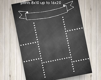 printable blank diy ribbon chalkboard template announcement poster jpg instant download
