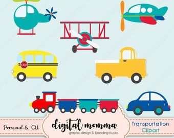 50% OFF SALE! Transportation, Things That Go, Train, Planes, Car, Truck, Bus Clipart, .PNG, Personal & Commercial Use, Instant Download!