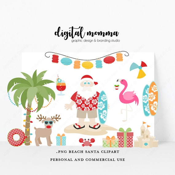 Christmas In July Clipart.Christmas In July Summer Vacation Santa Beach Santa Clipart Set Png Instant Download