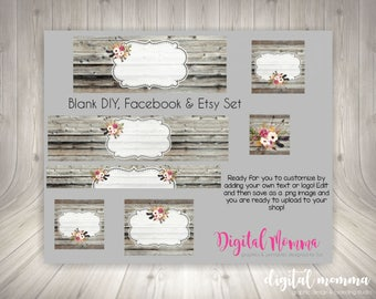 Blank, DIY Shop Graphics, Blank Facebook & Etsy Set, Etsy Cover Photo, Rustic Wood Floral Branding Set, Instant Download!