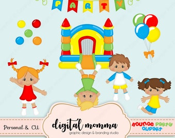 50% OFF SALE! Bounce Party Clipart, Bouncy Clipart, Bounce Castle, Birthday Clipart, .PNG, Personal & Commercial Use, Instant Download!